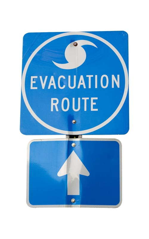 photo of evacuation route sign