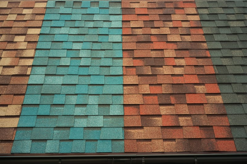 photo of different color roofing tiles