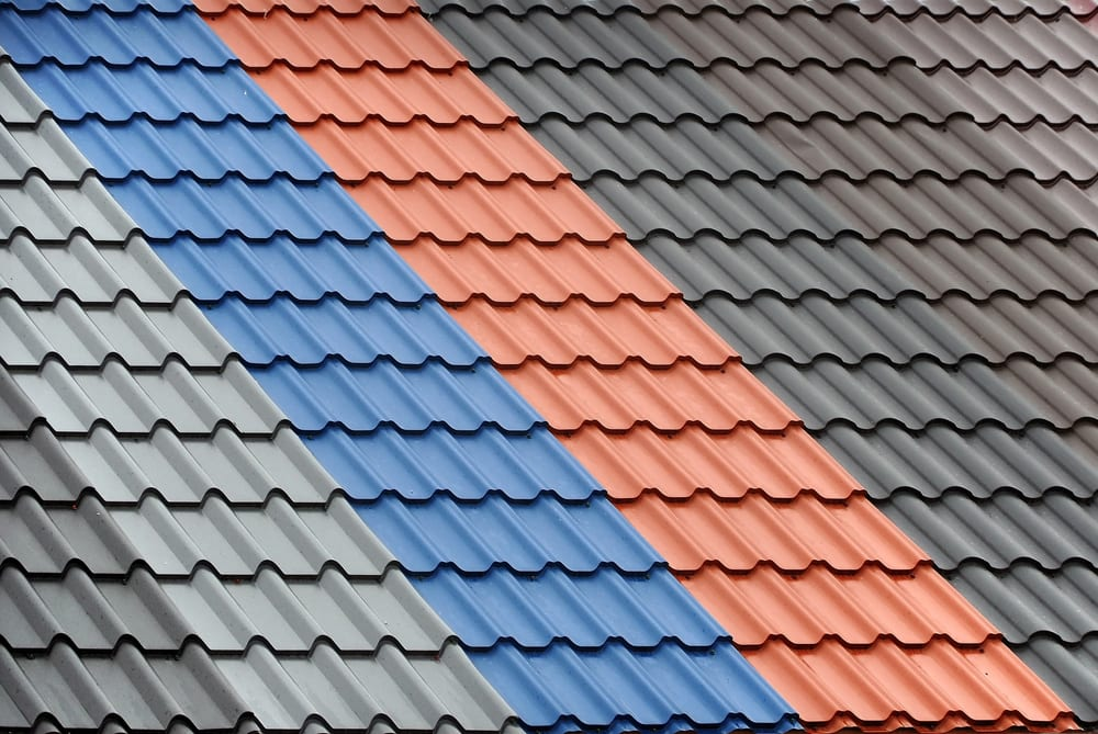 different colors of metal roof are shown