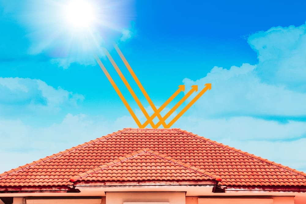 clay tile roof with arrows indicating how sun and heat bounce off and up into the sky