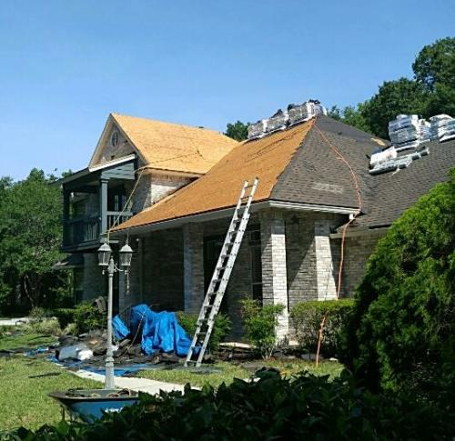 photo of roof being built by Patriot Roofing